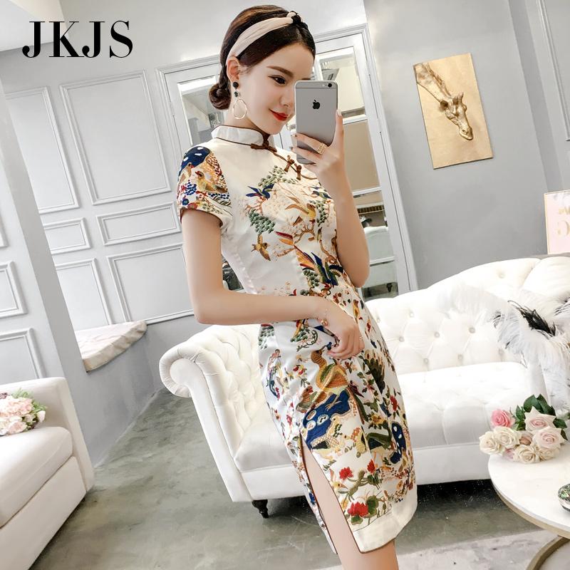 年轻旗袍夏季2018新款女改良时尚中国风女装中长款少女复古连衣裙