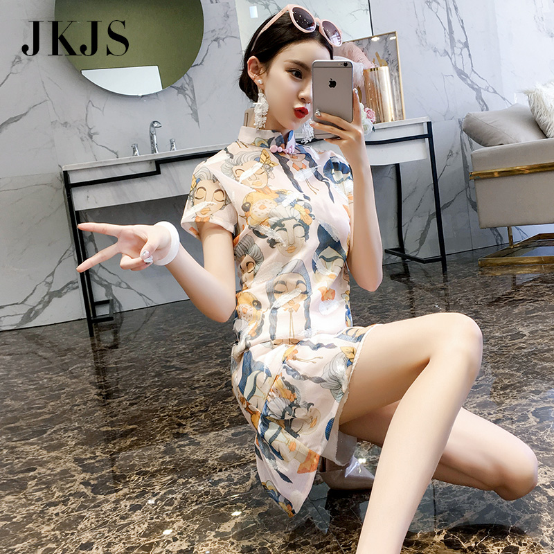 改良旗袍女夏季2018新款现代时尚年轻少女中国风女装小香风连衣裙