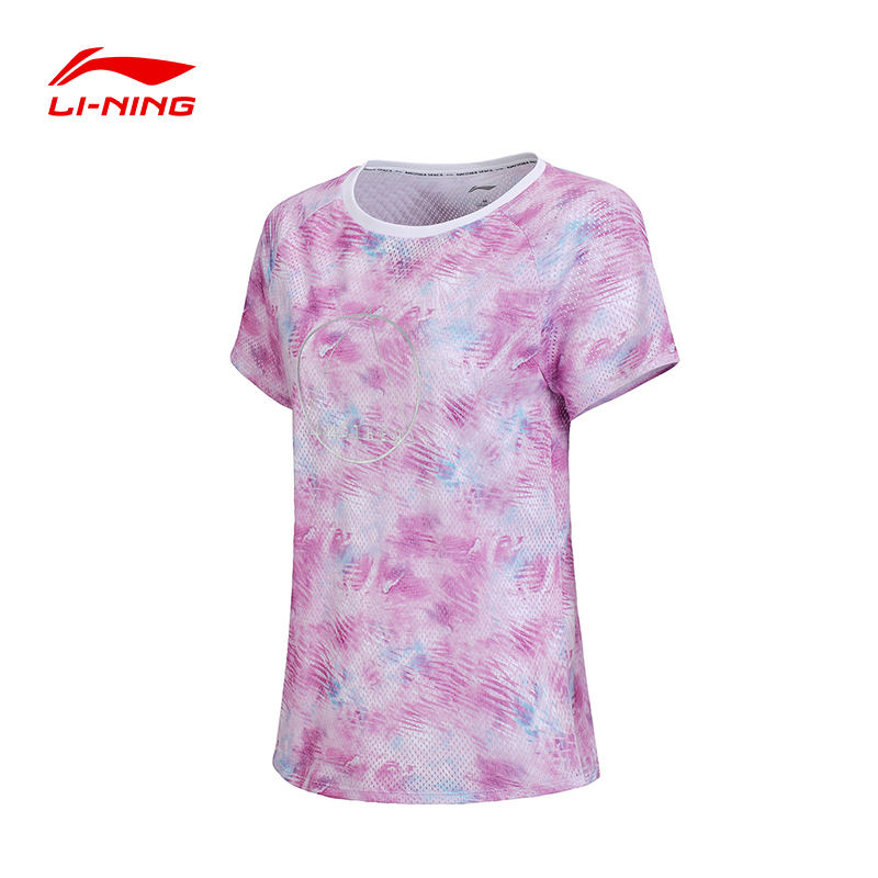 李宁短袖T恤女士2018新款运动时尚系列运动衣女装夏季针织运动服
