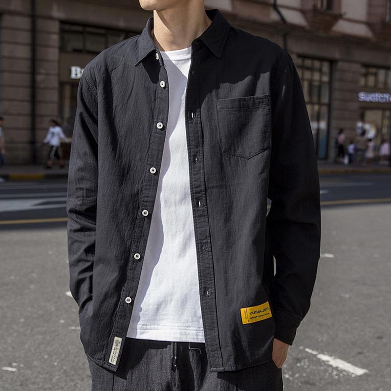 2020春秋衬衫男士韩版工装帅气长袖黑色衬衣春季寸衫休闲外套潮流