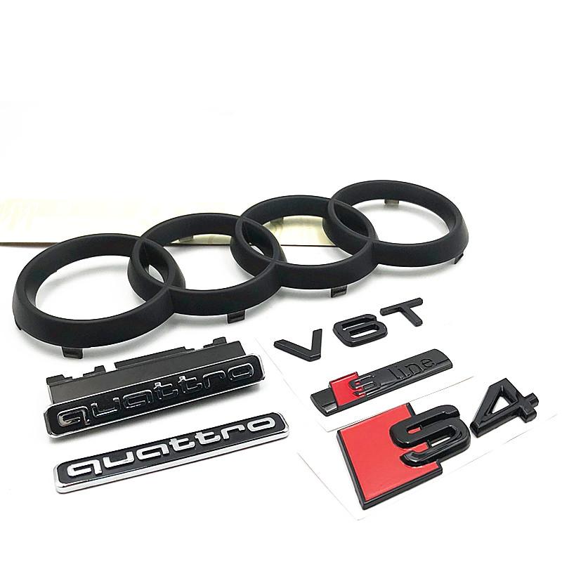 奥迪A4L 中网标志 V6T S4黑色车标 车尾标中网标 四环前标后标