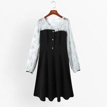 【春装直播上新】大码宽松圆领连衣裙纽扣装饰拼接裙子潮