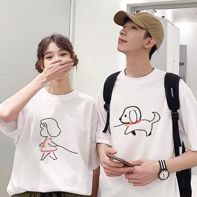 roora很仙的情侣装夏季情侣版一套套装两件小众设计感情侣T恤短袖