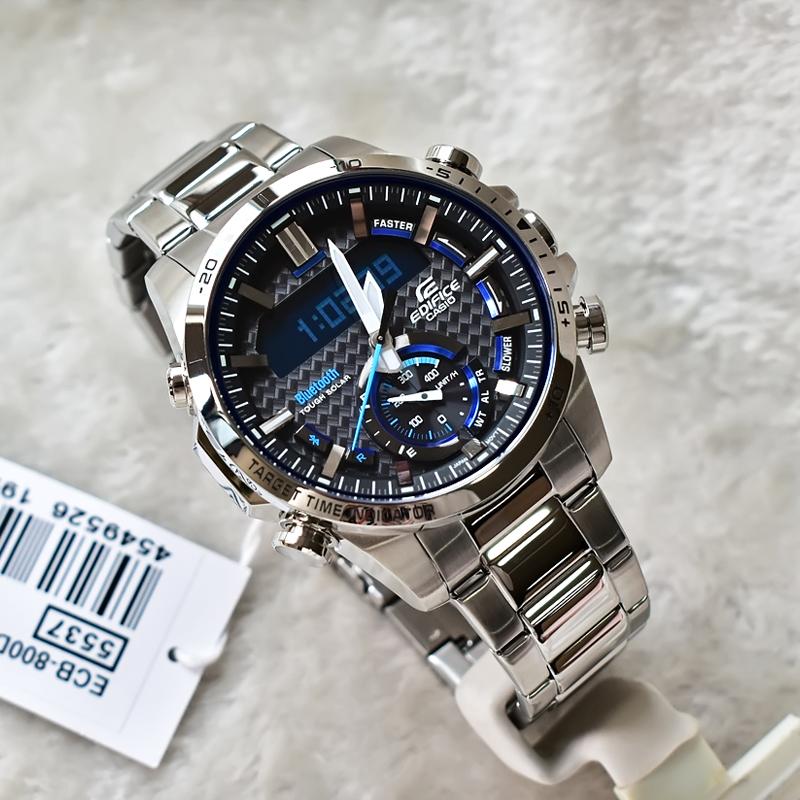 カシオ腕時計男性カジュアルスマートBluetoothダブル顕ソーラー防水水晶表ECB-800 D/DB/DC-1