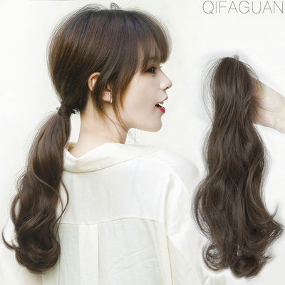 Ultra-light wig ponytail strap-on gripping a small amount of long curly hair simulation hair fluffy natural invisible braids big waves