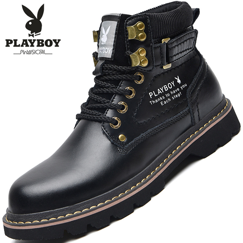 Playboy men's shoes 2020 autumn and winter Martin boots tooling high-top rhubarb boots plus velvet warm cotton shoes men's snow boots