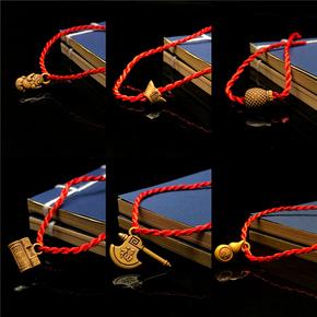 手工编织幸运小红绳吊坠手链生肖铃铛手绳本命年转运辟邪学生男女