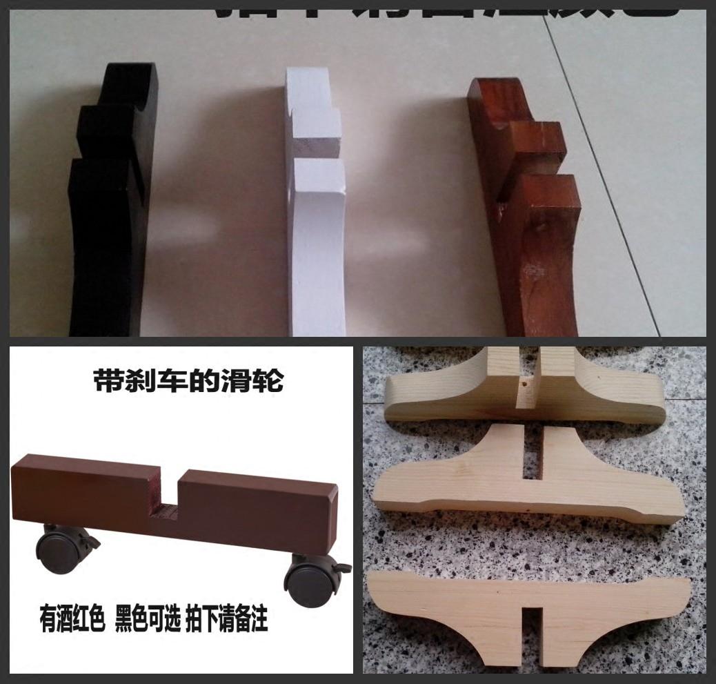 中式实木滑轮支架推拉时尚田园儿童拉直屏风底座隔断座脚定制包邮