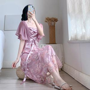 FS81424# 紫色复古仙女长裙可正反两穿 服装批发女装直播货源