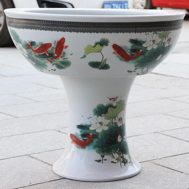 景德镇陶瓷盆落地立柱式特大号锦鲤