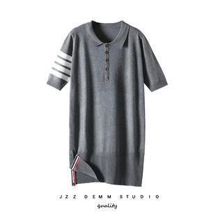 2020夏新款jzzTB针织连衣裙polo裙宽松直筒短袖中长款条纹保罗裙
