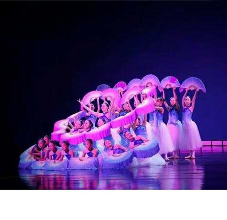 A river modern dance skirt group dance my motherland folding fan Ballet Dance Costume girl chorus performance Costume