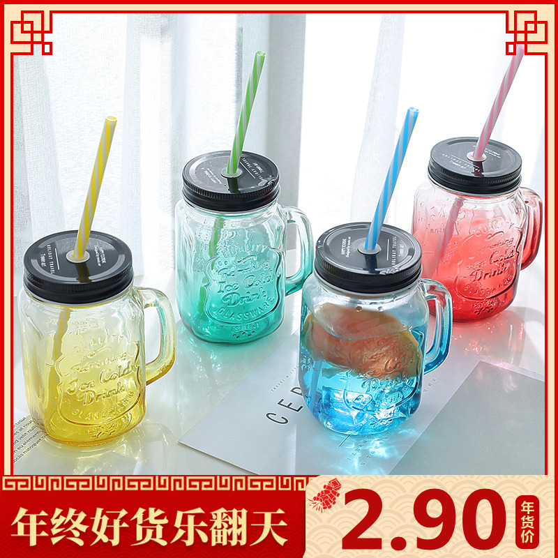 韩版创意便携杯带盖玻璃杯女学生透明水杯随手家用喝水带吸管杯子