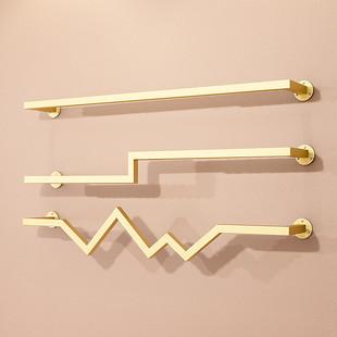 女童服装店货架衣架专用展示架子上墙上壁挂式卖正挂衣服的杆金色
