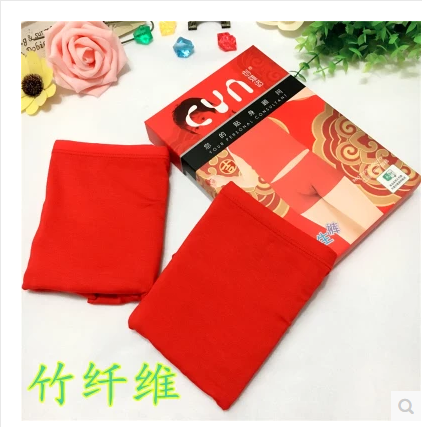 Boys big red underwear Bamboo Fiber Modal cotton childrens benmingnian 8-12-year-old students flat angle pure red shorts
