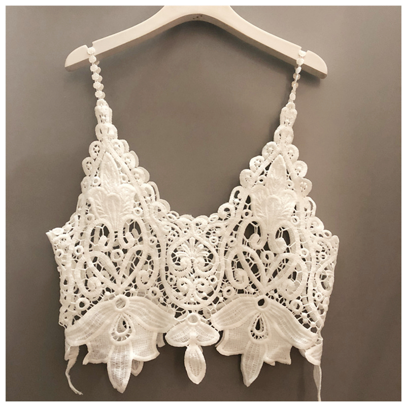 In summer, lace vest with suspender, womens short fashion waistcoat and hook flower cut-out blouse