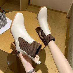 短靴女粗跟2020秋冬季新款方头高跟显瘦皮靴网红时尚切尔西时装靴