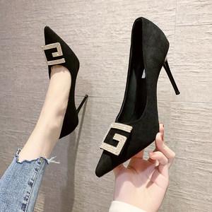 高跟鞋女秋季2021年新款设计感小众气质性感水钻尖头细跟浅口单鞋
