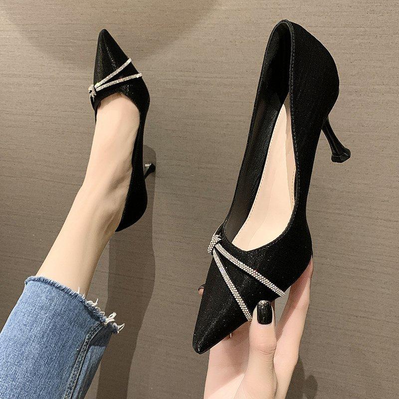 女士黑色高跟鞋子2021年春秋季新款尖头细跟百搭法式不累脚单鞋夏