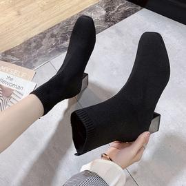 鞋子女2020秋冬季新款潮鞋粗跟高跟马丁靴针织弹力袜子靴方头短靴