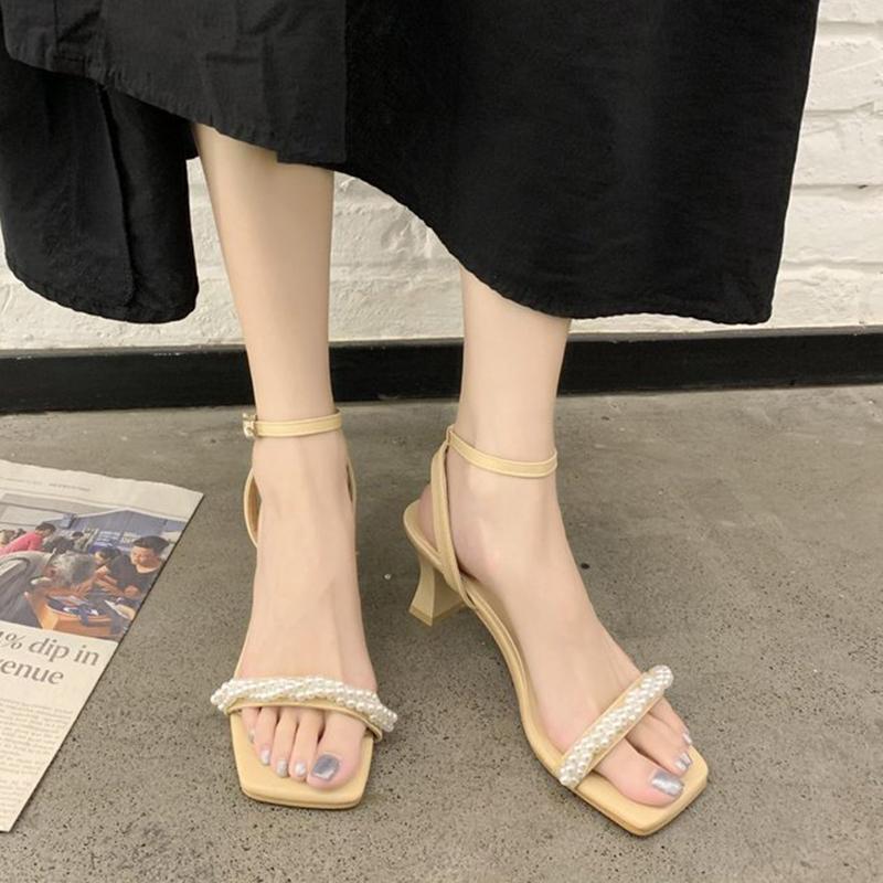 爆款粗跟中跟露趾凉鞋仙女风高跟鞋