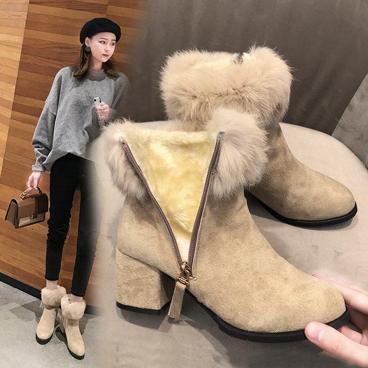 英伦风圆头高跟毛毛鞋子棉鞋女2018冬季新款马丁靴粗跟短筒短靴潮