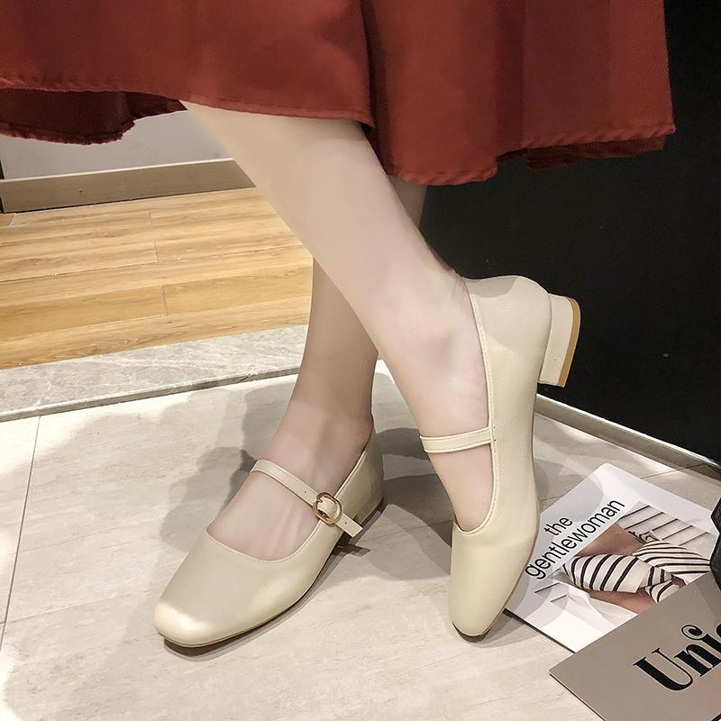 女秋季新款复古奶奶鞋软底粗跟玛丽珍女鞋休闲低跟单鞋2019豆豆鞋
