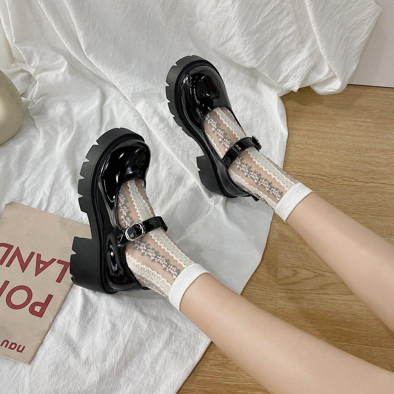 英伦小皮鞋女日系厚底玛丽珍鞋一字扣高跟单鞋洛丽塔学生jk制服鞋