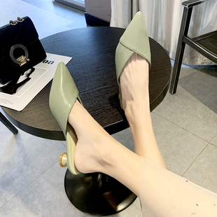 新款 女低跟粗跟2021夏季 网红时尚 外穿尖头穆勒凉拖 懒人包头半拖鞋