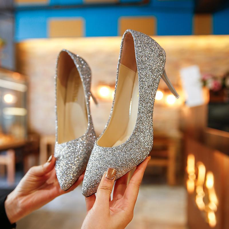 婚礼银色尖头高跟鞋亮片婚鞋渐变色细跟中跟单鞋女金色伴娘鞋宴会