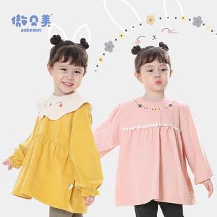 女宝宝纯棉罩衣儿童防水围兜婴儿反穿衣吃饭护衣防脏饭兜秋冬围裙
