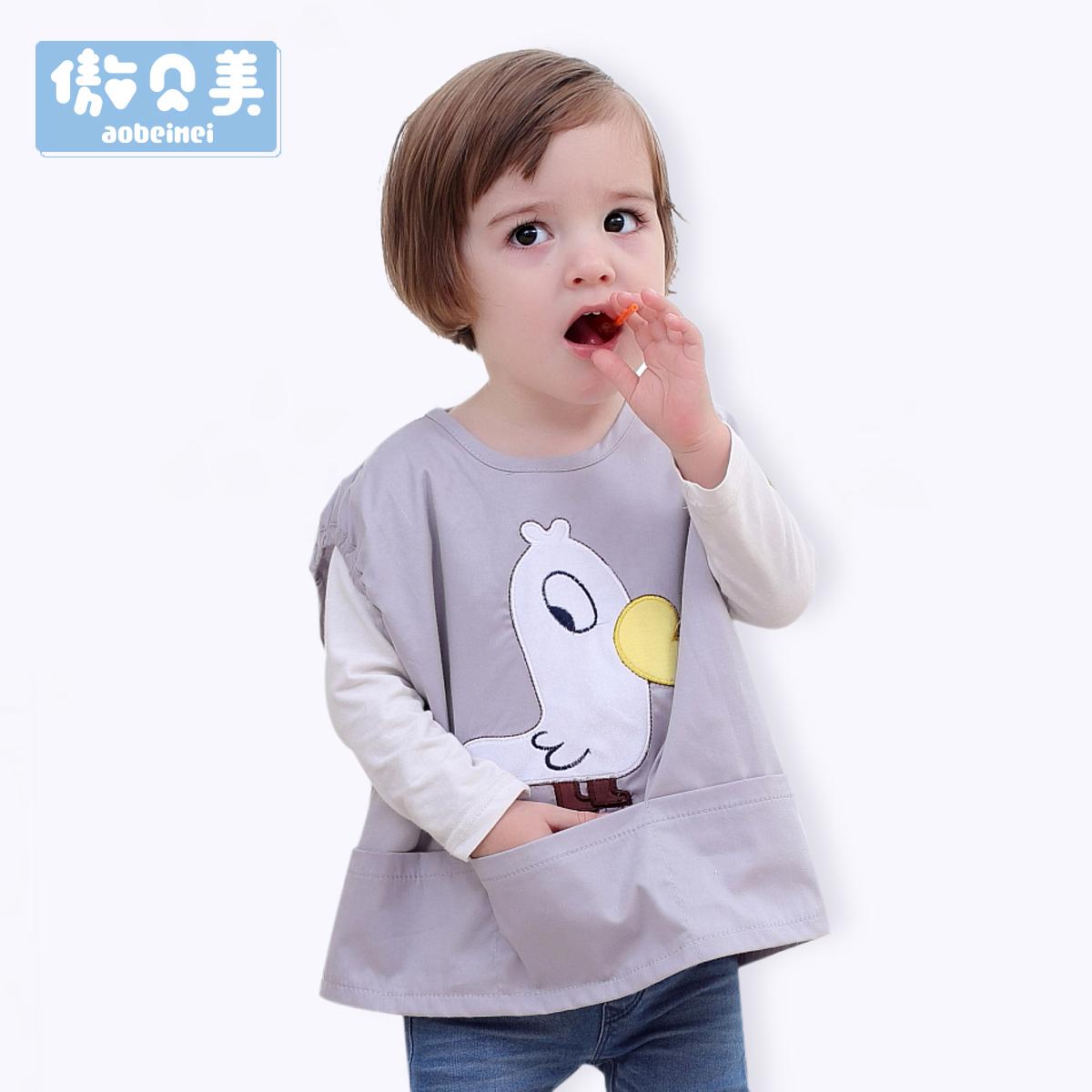 秋季宝宝防水围兜儿童罩衣婴儿纯棉吃饭衣男女童反穿衣无袖围裙