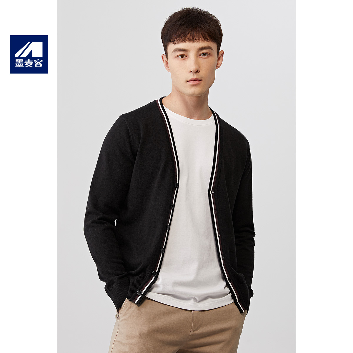 Mens mens clothing spring 2020 new knitted cardigan mens casual color contrast mens sweater coat issued on behalf of 3011