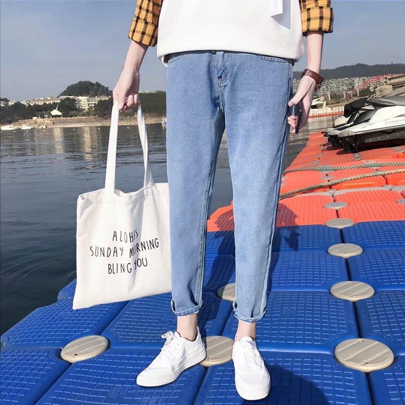 九分彈力牛仔褲男修身9分小腳褲夏季新款韓版潮流男士寬鬆休閑褲