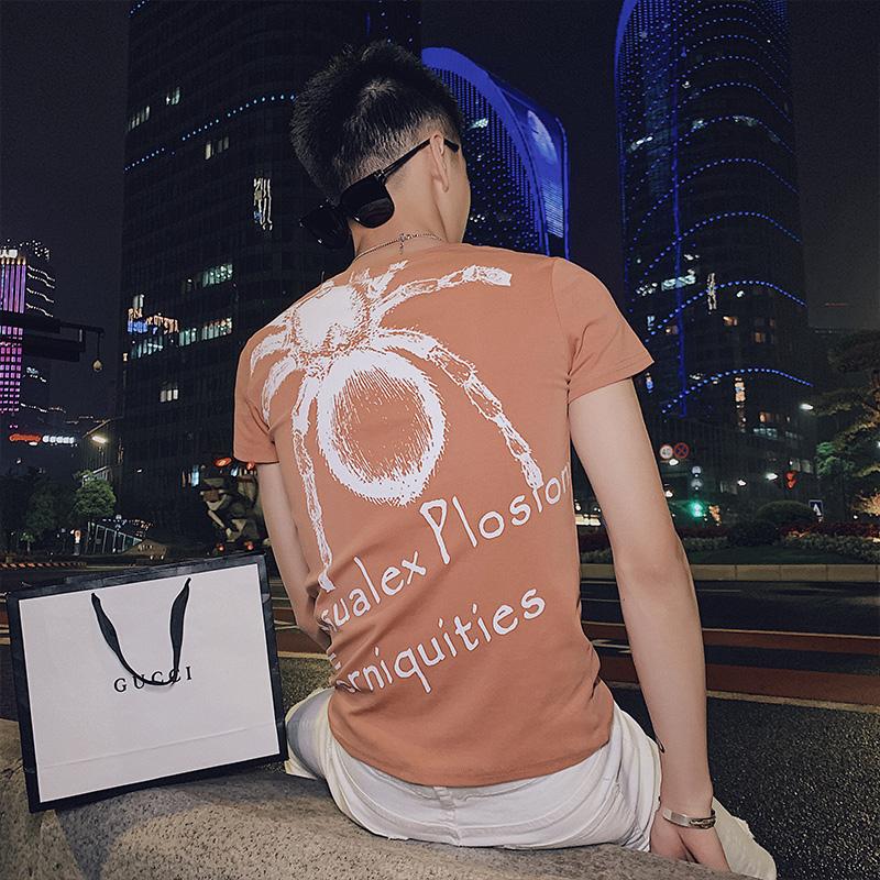 精神小伙夏季短袖印花针织衫时尚潮牌纯棉T恤男C203-G5052P38控58