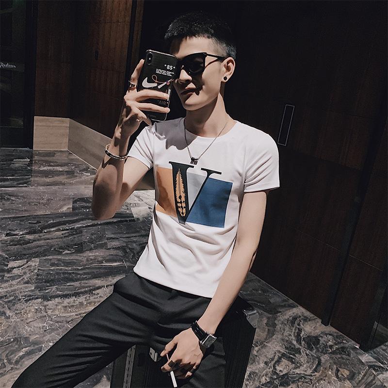 社会小伙夏季短袖印花针织衫纯棉修身潮牌T恤男C203-G5055P38控58