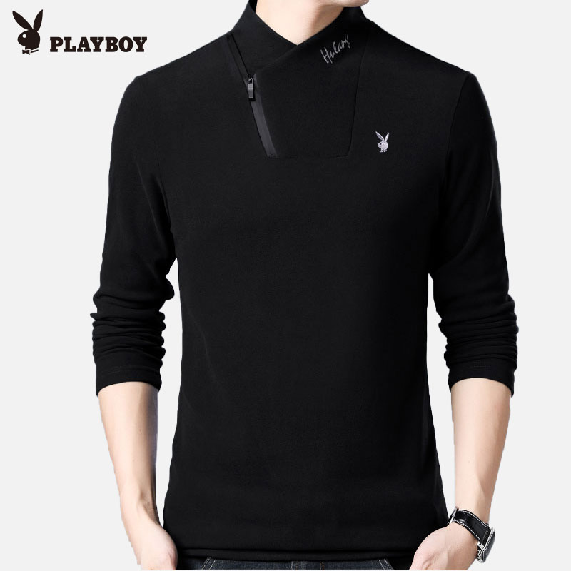Playboy long-sleeved t-shirt men's half-high collar sweater for autumn and winter 2020 new thick inner wear bottoming shirt