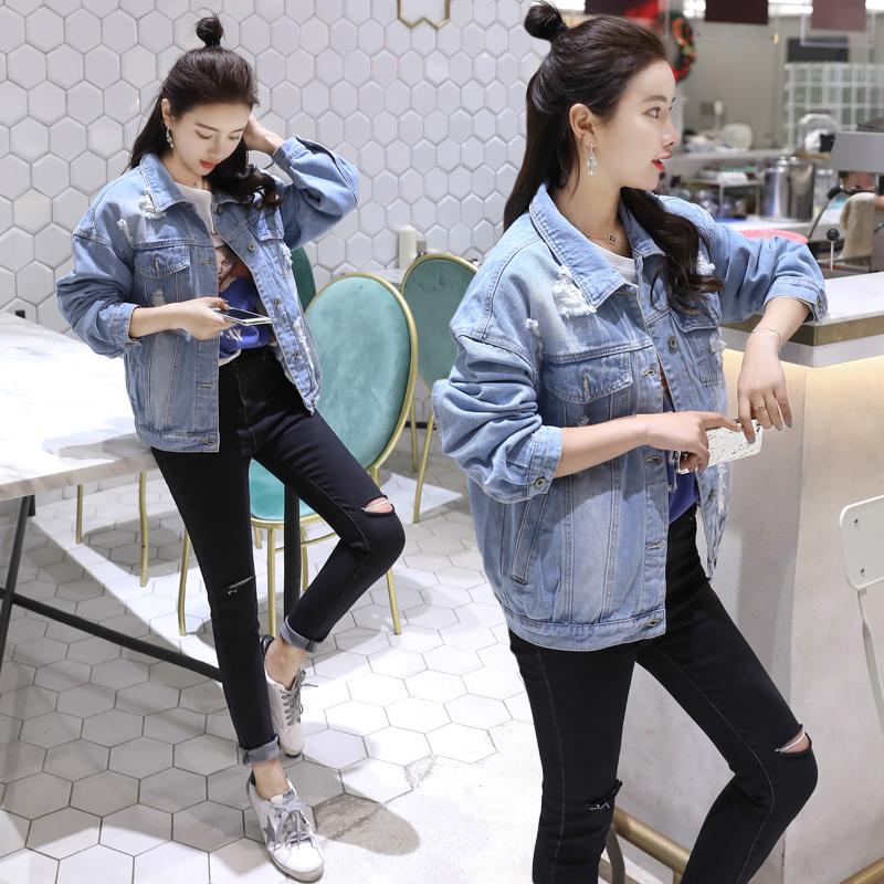 春秋牛仔外套女2018韩版新款宽松大码破洞学生BF风女装牛仔夹克衫