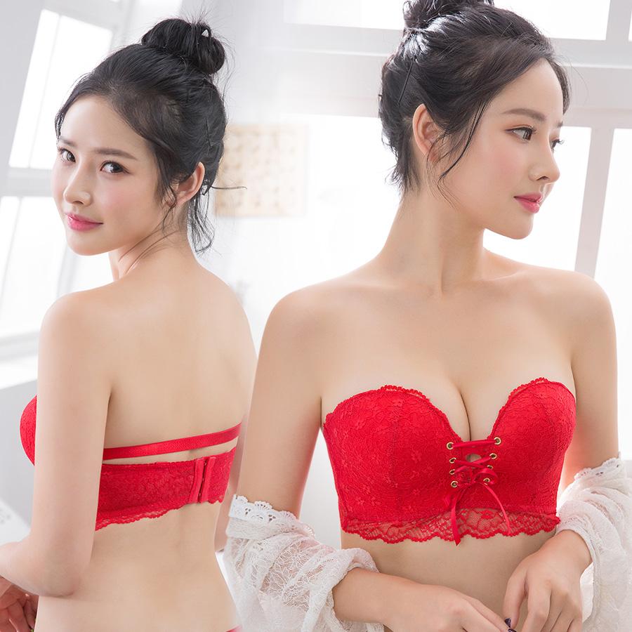 红色婚纱内衣女无肩带聚拢防滑结婚新娘隐形文胸抹胸式本命年套装