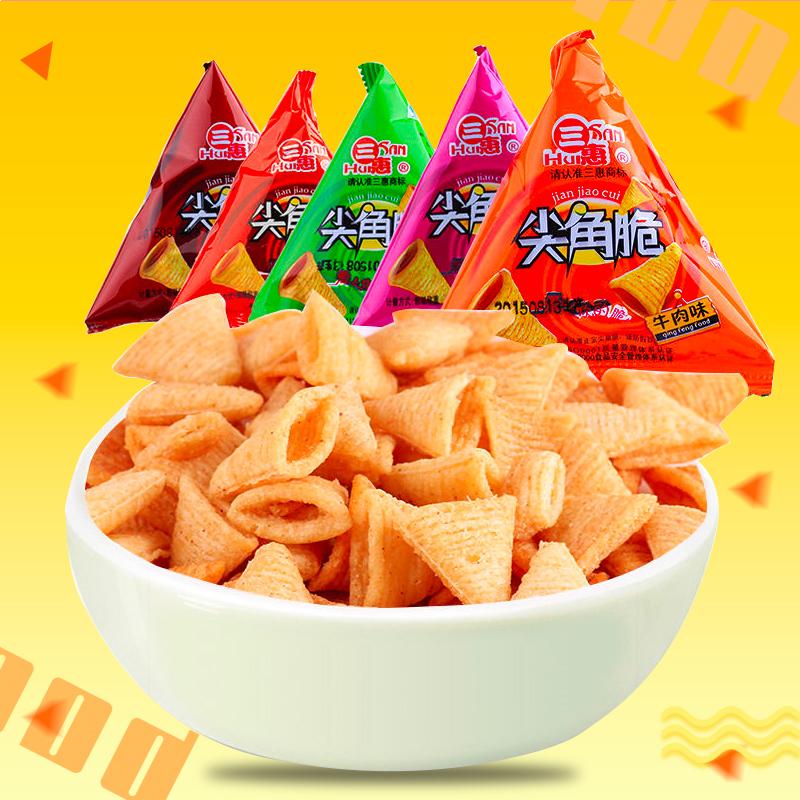 10-10新券三惠尖角脆妙脆角膨化小吃零食品大礼包小吃500gpk脆锅巴三角塔