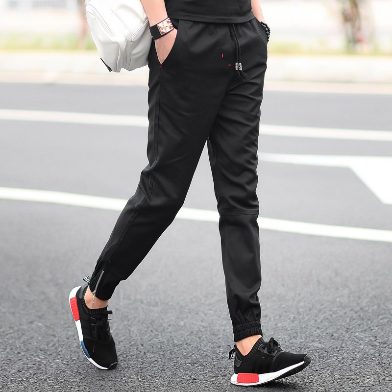 Mens casual micro elastic small feet autumn student trend sports pants
