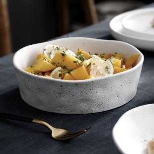 創意北歐餐具套裝碗盤家用簡約個性異形輕奢碗碟網紅ins風 沙拉碗