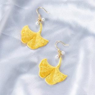 度假海邊杏葉黃色耳環925銀防過敏網紅時尚刺繡森系超仙秋天耳飾