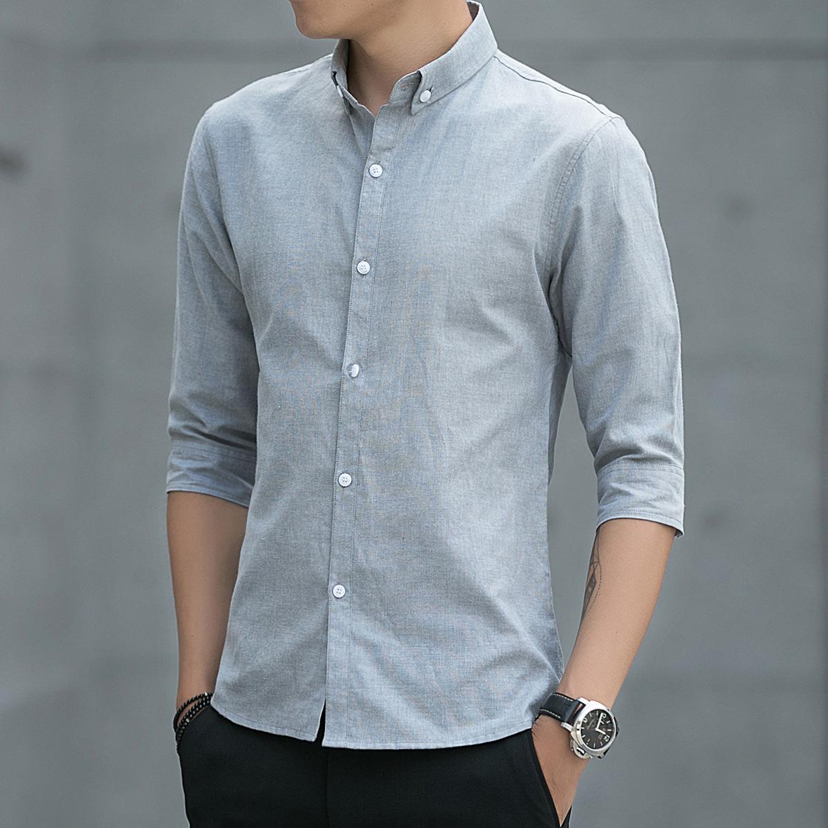 夏季7七分袖衬衫男士百搭中半袖寸衫韩版潮流修身休闲短袖衬衣男