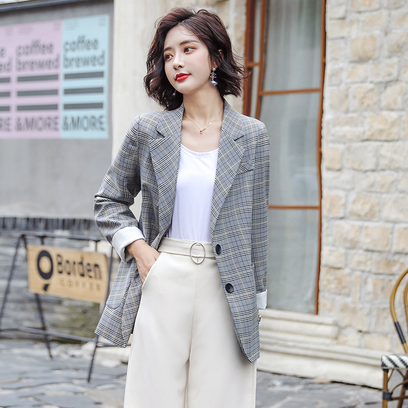 Plaid suit outerwear womens spring and autumn 2020 fashion Korean loose and versatile net red small suit