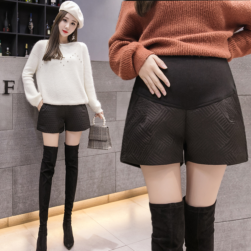 Autumn pregnant womens shorts wear large loose A-line wide leg shorts in autumn and winter