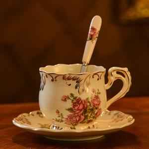 欧式咖啡杯套装 家用陶瓷杯子英式茶具咖啡杯碟 下午茶杯子带勺碟