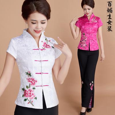 中年女夏改良唐装短袖套装妈妈汉服刺绣中国风复古民族风棉麻上衣