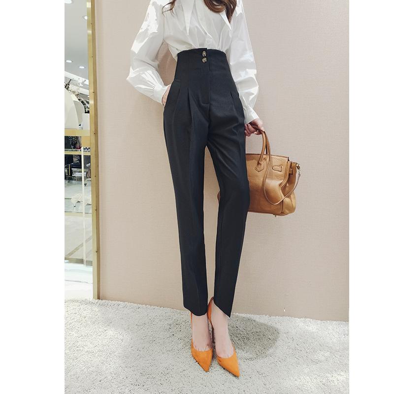 高腰哈伦裤春装2021年新款女时尚女人味显瘦百搭休闲萝卜裤子长裤