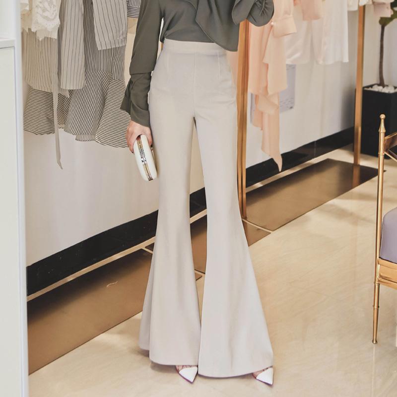 2021年新款春季气质高腰大喇叭裤